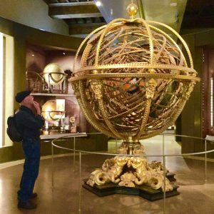 Jim Williams, pondering one of the artifacts illustrating Time at the Galileo Museum in Florence, Italy