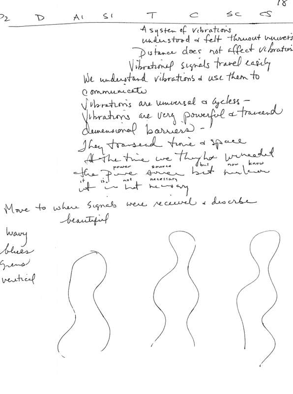"Page 18 from this session shows the Site Impressions (SI) column, also known as the Emotional Impact (EI) column. This column contains descriptions of how someone at the target site feels or thinks. It can effectively be used as a ""mind-reading tool."" Note how the handwriting begins to become nearly illegible as the viewer gets more and more contact with the target. Bilocation can cause the viewer to stop reporting altogether. This is usually discouraged by the monitor, and the viewer is encouraged to keep writing everything down! After the session was over, the viewer went through the session while the information was still fresh, and rewrote words that were illegible, for the sake of good recordkeeping. Page 18 also gives a small sample of the actual scientific information gained in this session. Who knows? The information in this session may someday prove to be helpful as we advance in space travel and interstellar communications."
